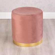 Smooth Velvet Blush Pink Footstool