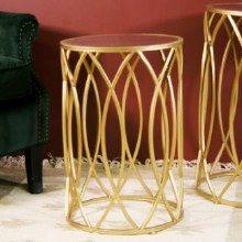 Waves Small Side Table Gold