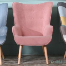 Taylor pink velvet accent chair