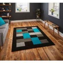 Matrix Rug Black/Blue 120x170cm