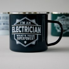 Top Bloke Enamel Electrician Mug