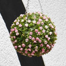 Artificial Topiary Pink Rose Ball 30cm