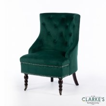 Torino Velvet Emerald Green Accent Chair
