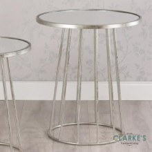 Trinity Large Silver Round Side Table with Mirror