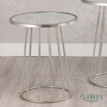 Trinity Small Silver Round Side Table with Mirror