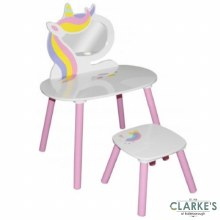 Sweet Unicorn Table with Mirror and Stool