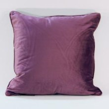 Velvet Aubergine Piped Cushion