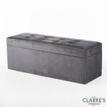 Vienna Grey Velvet Trunk 120cm