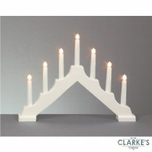 Premier 7 LED (40cm) White Christmas Candle Bridge Battery Operated