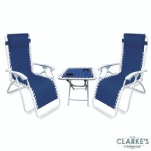 SupaGarden Zero Gravity Chairs and Folding Drinks Table Set
