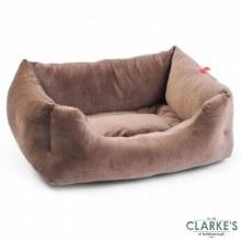 Velour Latte Square Dog Bed Large