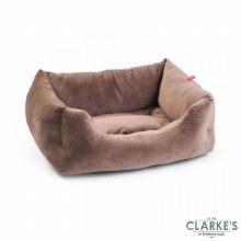 Velour Latte Square Dog Bed Medium
