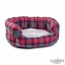 Check Oval Dog Bed Medium