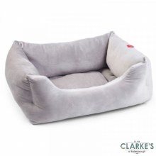 Velour Silver Grey Square Dog Bed Extra Large