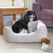 Velour Silver Grey Square Dog Bed Large