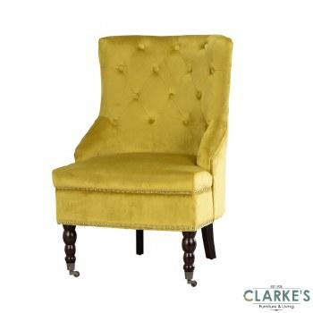 Torino Velvet Accent Chair Mustard