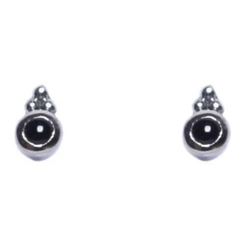 Faceted Stone Stud - Onyx