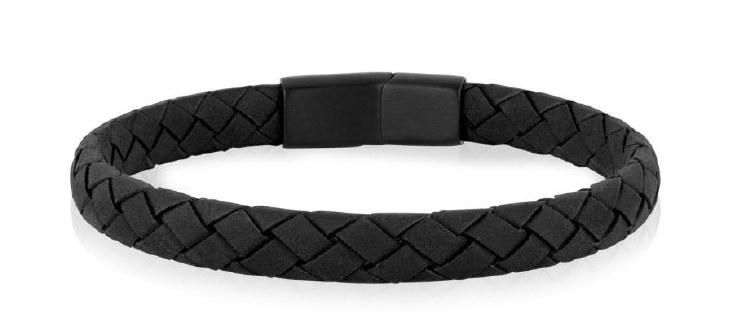 Flat Black Leather Bracelet
