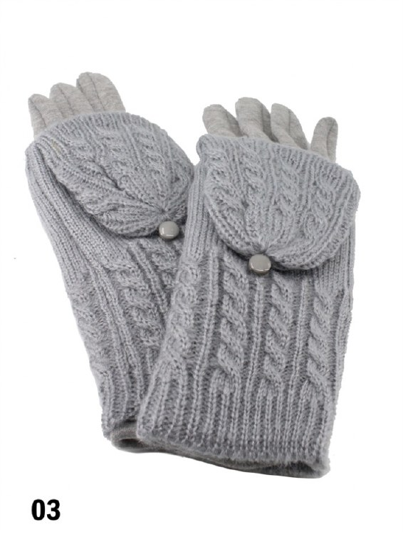 Cable Knit Gloves Lt Grey