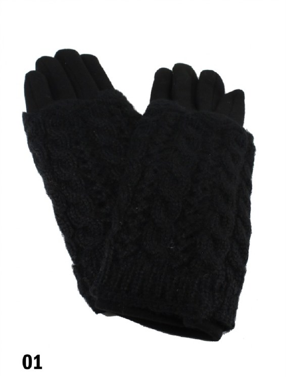 Cable knit touch gloves - Blk