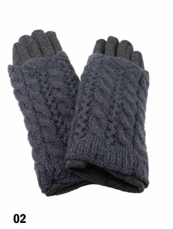 Cable Knit Gloves Dark Grey