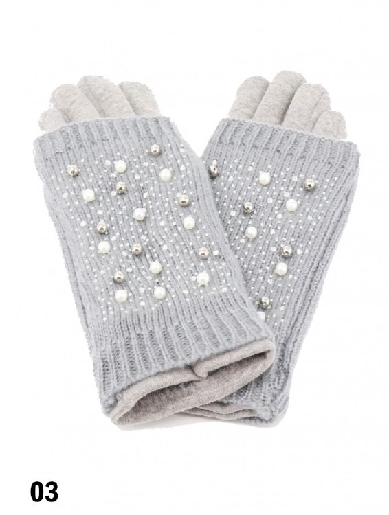 Touch Screen Glove w Pearl Gry