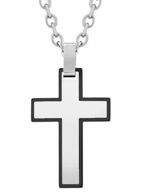 Black Steel Cross Pendant