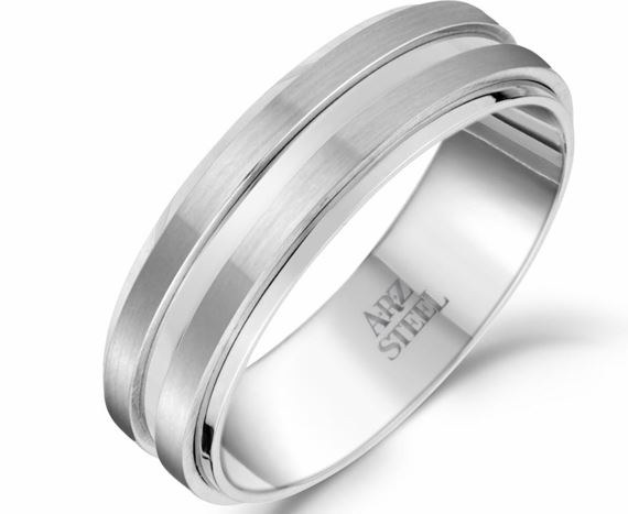 Matte & Shiny Steel Ring sz 10