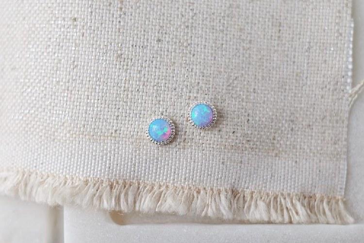Braided Azure Opal Earrings