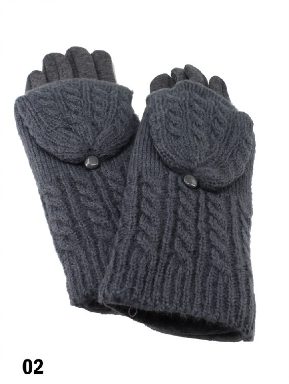Cable Knit Gloves Dk Grey