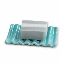 Ridged Soap Dish Aqua
