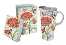 Floral Butterflies Travel Mug