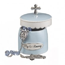 Rosary w Keepsake Box Blue