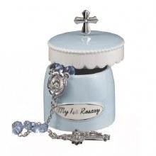 Rosary w Keepsake Box Blue