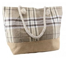 Plaid Shoulder Tote Beige