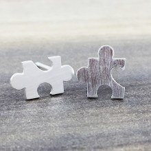 Puzzle Piece Earrings Silver