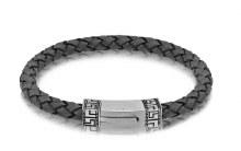 Grey Leather Bracelet 8.5