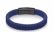 Navy Italian Leather Bracelet