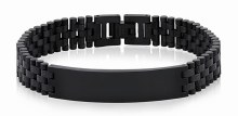 Black Steel Link ID Bracelet