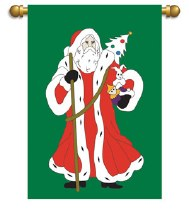 Chirstmas Father Time House Flag