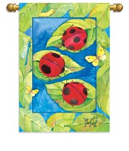 HOUSE FLAG LADY BUG N LEAVES