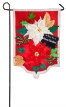 HOLIDAY POINSETTIAS GARDEN BURLAP FLAG