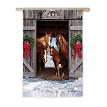 GARDEN FLAG HORSE FAMILY CHRISTMAS