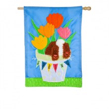 SPRING TULIPS HOUSE APPLIQUE FLAG