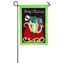 GIFTS ON XMAS SLEIGH GARDEN APPLIQUE FLA