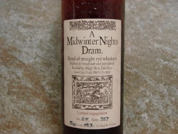 High West Mid Winter Night Dram Rye Whiskey 750ml