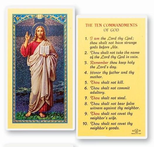 10 COMMANDMENTS LAMINATED PRAYER CARD