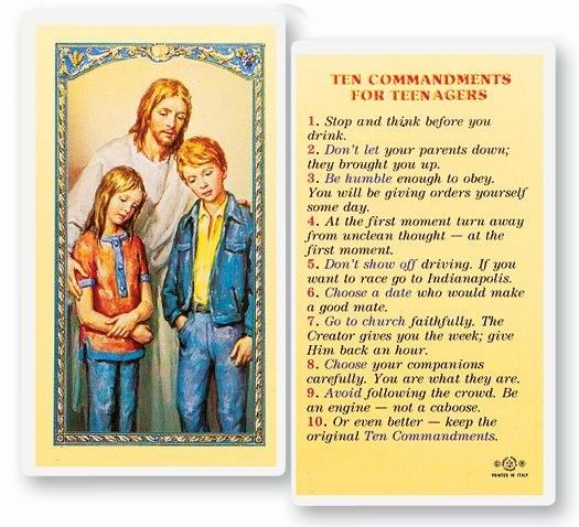 10 COMMANDMENTS TEENAGER LAMINATED PRAYER CARD