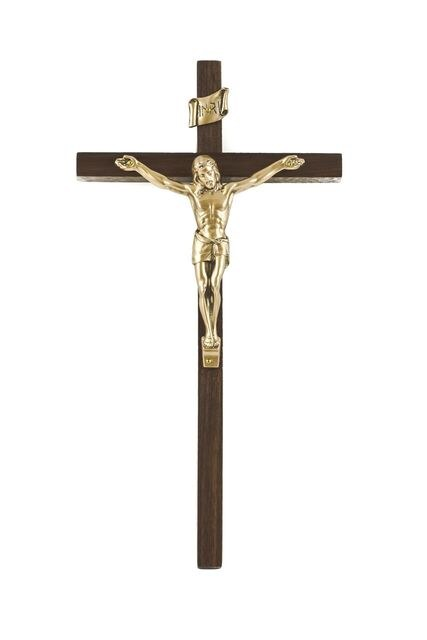 WALNUT CRUCIFIX WITH GOLD FINISHED CORPUS