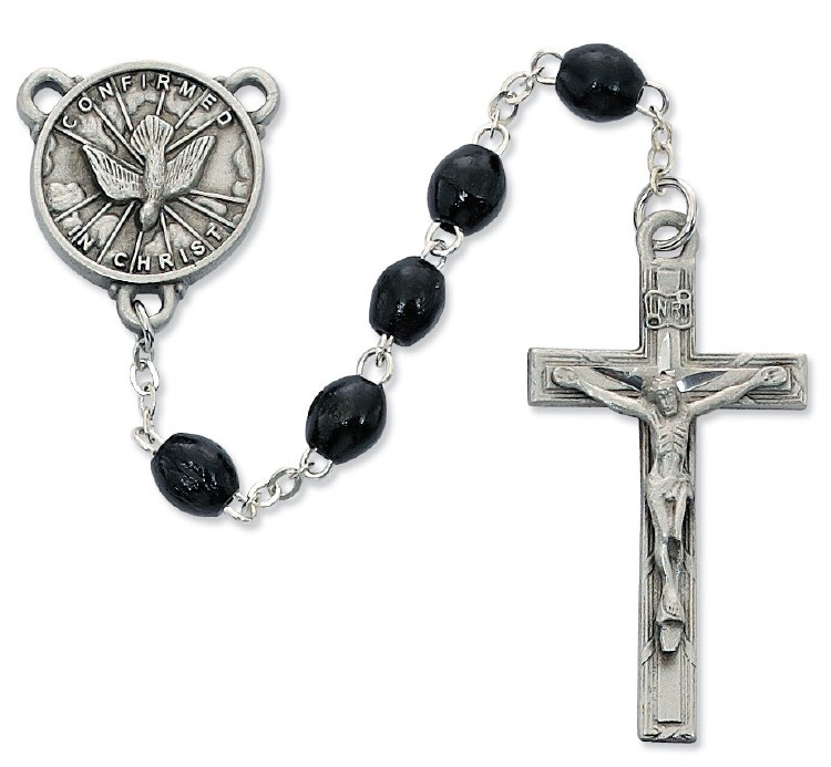 BLACK WOOD HOLY SPIRIT ROSARY